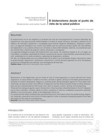 El bioterrorismo desde el punto de vista de la salud pública