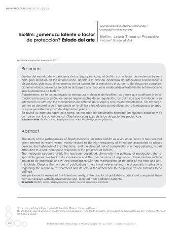 Biofilm: ¿amenaza latente o factor de protección? Estado del arte ...