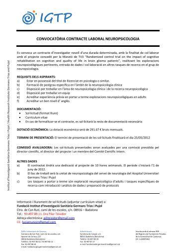 Convocatoria_RRHH_IGTP_Novell2 - Fundació Institut d ...