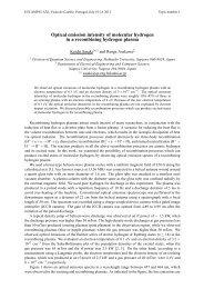 Optical emission intensity of molecular hydrogen in ... - escampig 2012