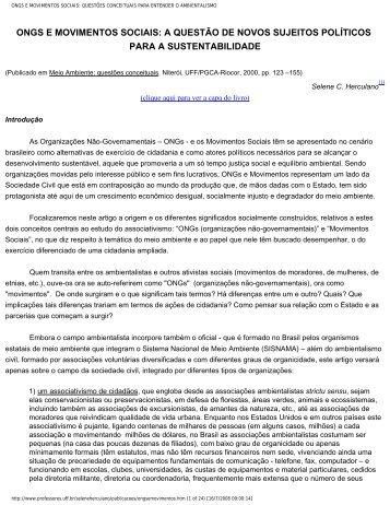 ongs e movimentos sociais - Educacaoambiental.pro.br