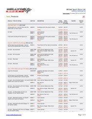 Milltek Sport Price List Seat_Products