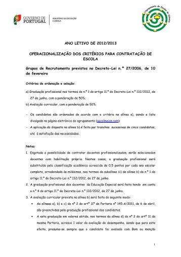 ANO LETIVO DE 2012/2013 OPERACIONALIZAÇÃO DOS ... - Escolar