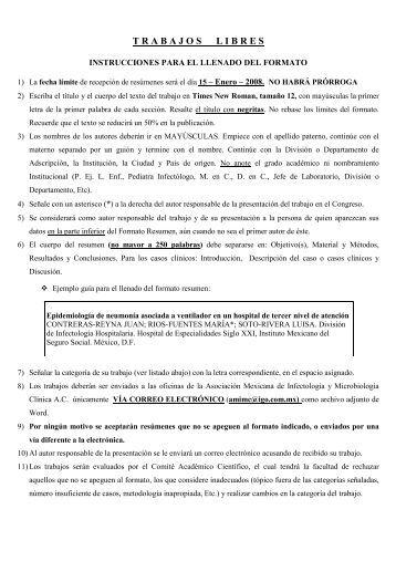 trabajoslibres - Asociación Mexicana de Infectología y Microbiología ...