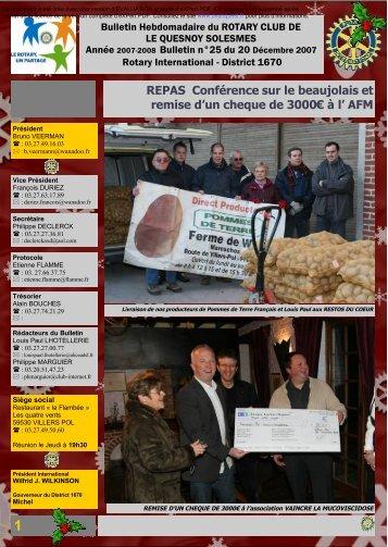 1 REPAS Conférence sur le beaujolais et remise d׳un cheque de ...