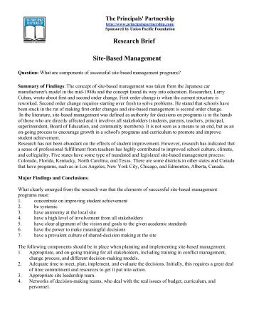 study on school based management Managing school behavior: a qualitative case study  based on its findings, this study recommends that further investigation into data  this qualitative case .