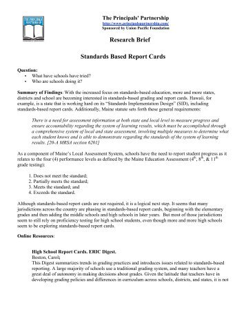 A brief history of the standards based movement in education research brief standards based report cards online fandeluxe Image collections