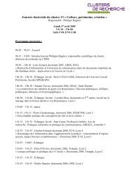 Programme provisoire - Cluster 13
