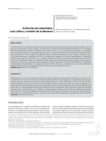 Actinomicosis adenoidea - Asociación Mexicana de Infectología y ...