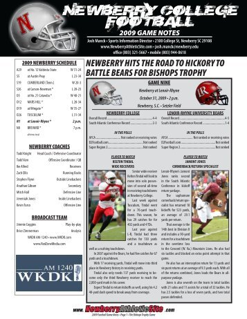 2009 game notes
