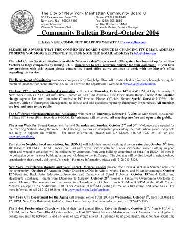 Community Bulletin Board–October 2004 - Community Board 8