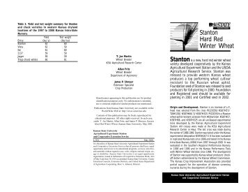 L921 Stanton Hard Red Winter Wheat - K-State Research and ...