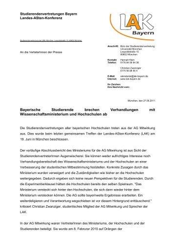 Pressemitteilung der LAK - Stuve Uni Erlangen-Nürnberg