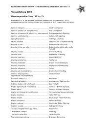 Liste ausgestellter Pilz-Taxa 2009 - Botanischer Garten