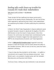 Sealing talk could churn up trouble for Canada-EU trade deal ...