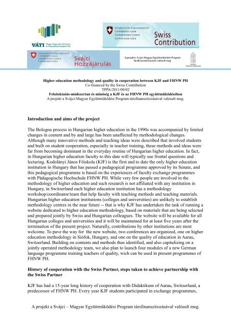 Introduction and aims of the project The Bologna process in ...