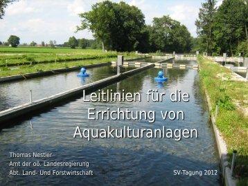 Leitlinien für die Errichtung von Aquakulturan-lagen/Fischteichanlagen