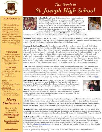 This Week December 12-18 - St. Joseph High School