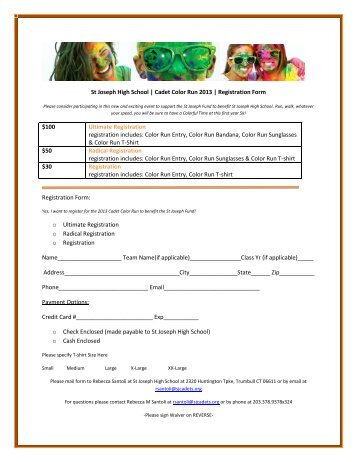 St Joseph High School | Cadet Color Run 2013 | Registration Form ...