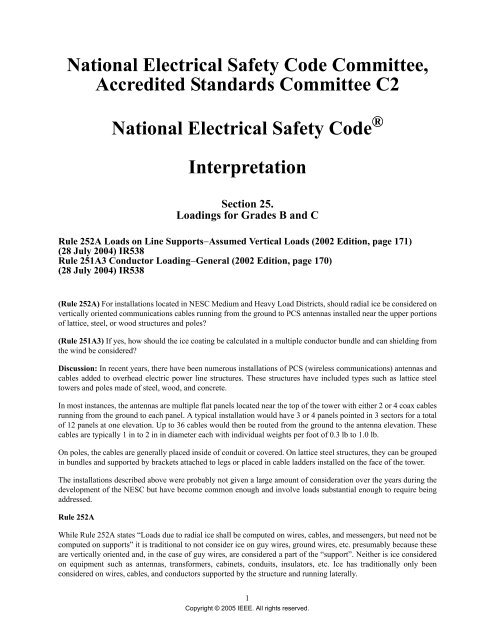 National Electrical Safety Code Committee, Accredited