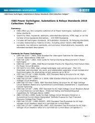 IEEE Power Switchgear, Substations & Relays Standards 2010 ...