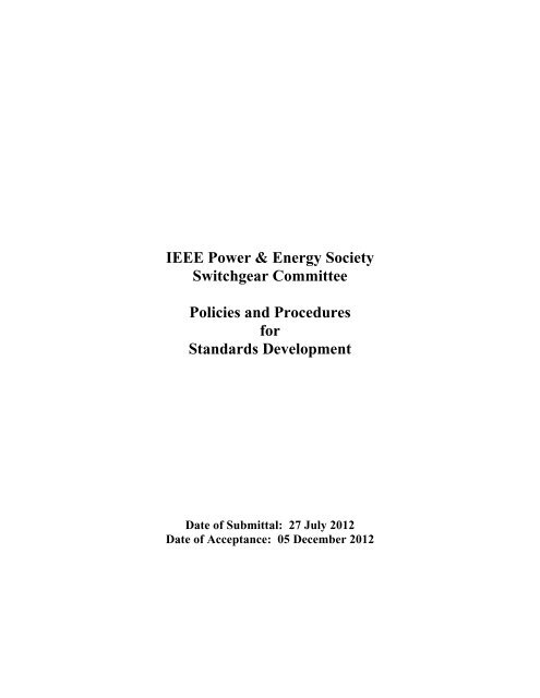 IEEE Power & Energy Society Switchgear Committee Policies and ...