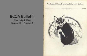 BCOA Bulletin March-April 1968 - the Basenji Club of America