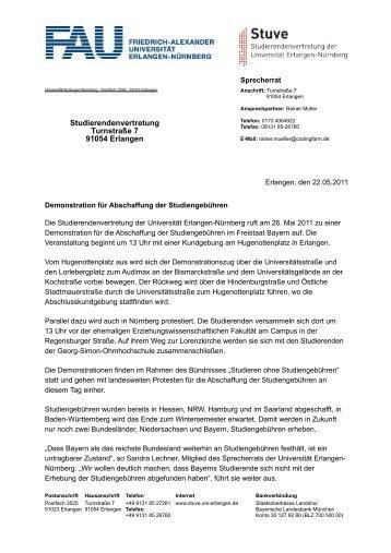 Demonstration für Abschaffung der Studiengebühren - Stuve Uni ...