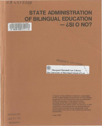 State Administration of Bilingual Education - si o no? - University of ...