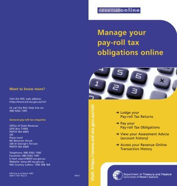 Manage your pay-roll tax obligations online - Department of Finance