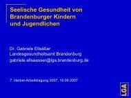 Seelische Gesundheit von Brandenburger Kindern und Jugendlichen