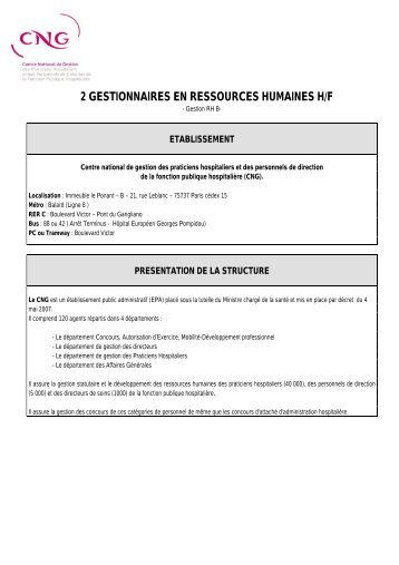 2 GESTIONNAIRES EN RESSOURCES HUMAINES H/F - CNG