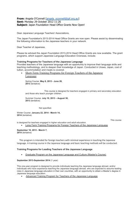 letter from the Japan Foundation - MLTA ACT