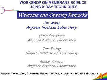 workshop on membrane science using x-ray techniques