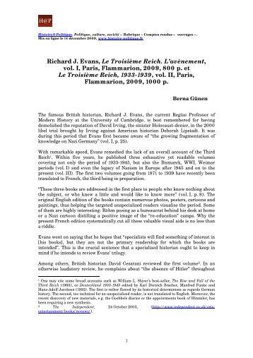 Richard J. Evans, Le Troisième Reich. L'avènement - Histoire ...