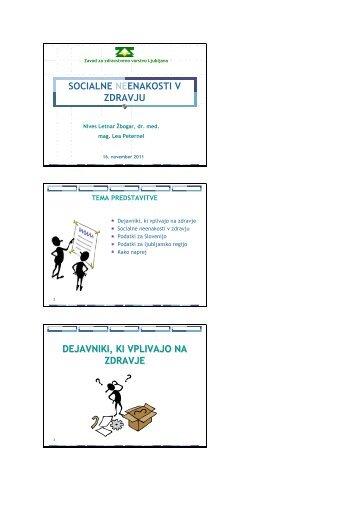 Socialne neenakosti v zdravju - Zavod za zdravstveno varstvo ...