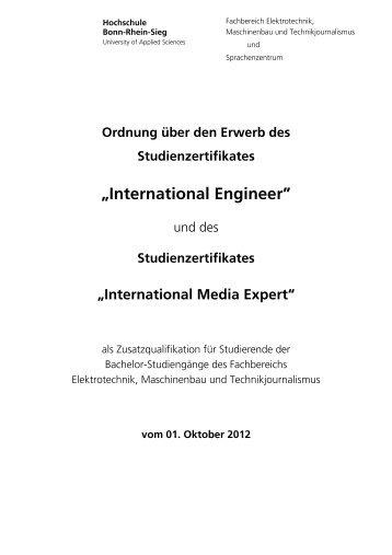 Zertifikatsordnung - Fachbereich Elektrotechnik, Maschinenbau und ...