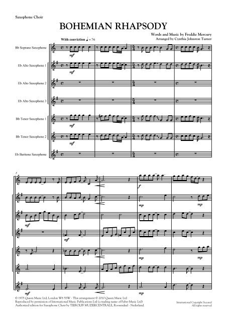 Bohemian Rhapsody Sax Choir DEF mus - Tierolff Muziekcentrale