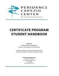 certificate program student handbook - Peridance Capezio Center