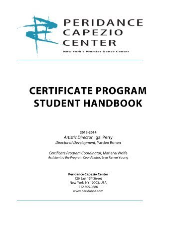 certificate program student handbook - Peridance Capezio Center