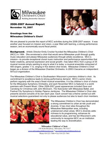 2006-2007 Annual Report - Milwaukee Children's Choir
