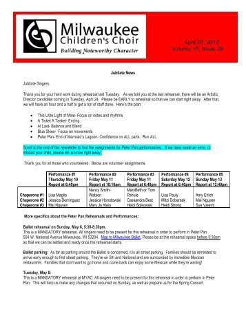 April 20, 2012 Volume 18, Issue 29 - Milwaukee Children's Choir