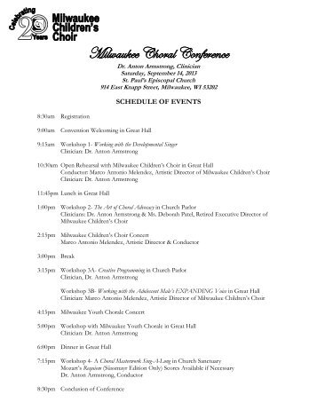 Conference Schedule - Milwaukee Children's Choir