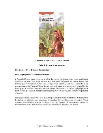 L'Intouchable aux yeux verts (corrigé) - Les Éditions Hurtubise