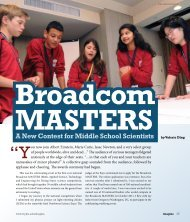 Broadcom MASTERS: A New Contest for Middle School Scientists