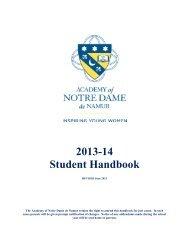 2013-14 Student Handbook - Academy of Notre Dame de Namur