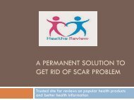 A Permanent Solution To Get Rid Of Scar Problem