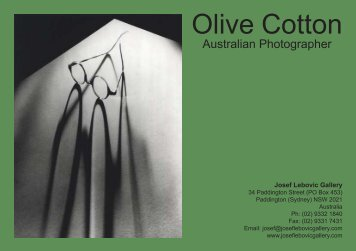 Olive Cotton - Josef Lebovic Gallery