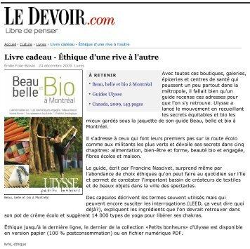 Le Devoir decembre 2009 - Guides de voyage Ulysse