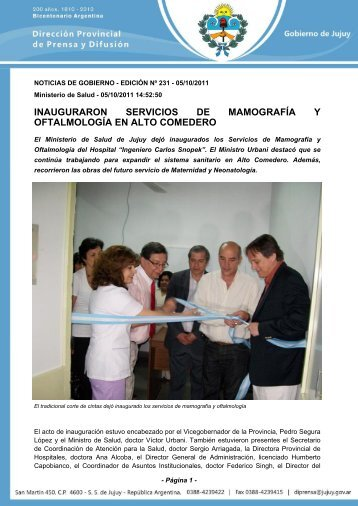 inauguraron servicios de mamografía y oftalmología en alto comedero